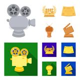 Silver camera. A bronze prize in the form of a TV and other types of prizes.Movie award,sset collection icons in cartoon. Silver camera. A bronze prize in the Royalty Free Stock Photos