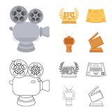 Silver camera. A bronze prize in the form of a TV and other types of prizes.Movie award,sset collection icons in cartoon. Silver camera. A bronze prize in the Royalty Free Stock Image