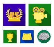 Silver camera. A bronze prize in the form of a TV and other types of prizes.Movie award,sset collection icons in flat. Silver camera. A bronze prize in the form Royalty Free Stock Photos