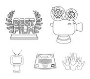 Silver camera. A bronze prize in the form of a TV and other types of prizes.Movie award,sset collection icons in outline. Silver camera. A bronze prize in the Stock Images