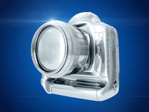 Silver camera. 3D rendering Royalty Free Stock Photo