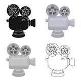 Silver camera with film.The award for the best filming of the movie.Movie awards single icon in cartoon style vector. Symbol stock web illustration Stock Images