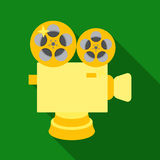Silver camera with film.The award for the best filming of the movie.Movie awards single icon in flat style vector symbol. Stock web illustration Stock Image