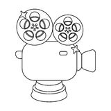 Silver camera with film.The award for the best filming of the movie.Movie awards single icon in outline style vector. Symbol stock web illustration Stock Photo