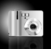Silver camera. Photoshop generated 3D camera on graduated background Stock Images