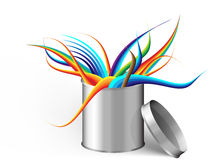Silver can with abstract theme Royalty Free Stock Image