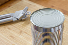 Silver Can and opener Stock Photos