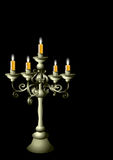 Silver candelabrum with cadles Royalty Free Stock Photos