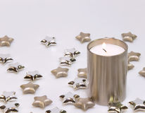 Silver candle decoration Stock Photography