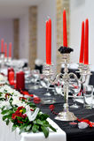 Silver candle holder on wedding table Royalty Free Stock Photos