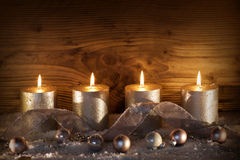 Silver candles for the 4. Advent Stock Photo