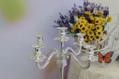 Silver candlesticks Royalty Free Stock Photos