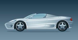 Silver car. Silver cabriolet on a dark background stock illustration
