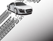 Silver car. Car on the abstract background Stock Photo