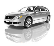 Silver Car Contemporary Luxury Vehicle Concept Royalty Free Stock Images