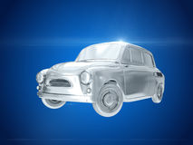 Silver car. 3D rendering Stock Image