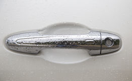 Silver car door handle knob Stock Photos