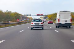 Silver car drives on a german motorway royalty free stock photos