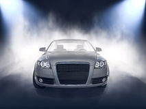 Silver car front view in fog Stock Image