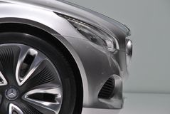 Silver Mercedes nose. Silver car front view at motorshow stock photography