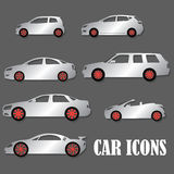 Silver car icons and red wheel Royalty Free Stock Photography