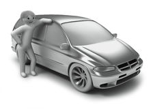 Silver car and men Stock Image