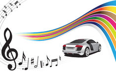 Silver car and music. Background Stock Images