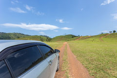 Silver car parking at the grass hill in Ranong province Stock Photos