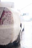 Silver car in shampoo Stock Image