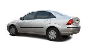 Silver car on white. Royalty Free Stock Photography