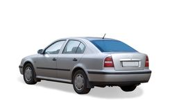 Silver car on white Stock Images