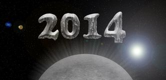 2014 silver card. Happy new year 2014 card, universe theme with planet or moon Stock Image