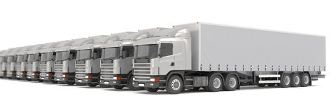 Silver cargo trucks parked in a row Royalty Free Stock Photography