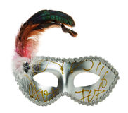 Silver carnival mask on the white background.  Stock Photography