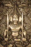 Silver carving. Thai style silver carving art on temple wall Stock Image