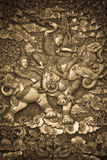 Silver carving. Thai style silver carving art on temple wall Stock Photography