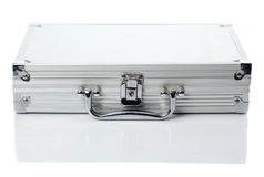 Silver case. Lock protected case from aluminum, fron view to the lock Stock Photography