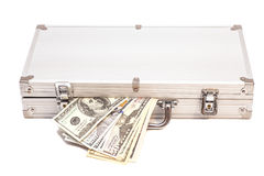 Silver case with dollars Royalty Free Stock Photos