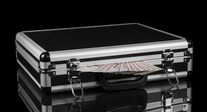 Silver case with money Royalty Free Stock Photos