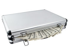 Silver Case With Dollars Stock Photography