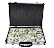 Silver Case With Dollars Royalty Free Stock Images