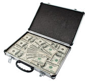 Silver Case With Dollars Royalty Free Stock Image