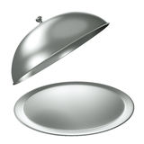 Silver catering tray. With dome. 3D render vector illustration