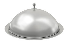 Silver catering tray. Covered silver catering tray. 3D render royalty free illustration