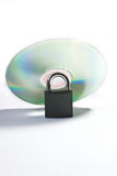 Silver cd with lock Stock Photos
