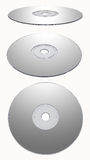 Silver CD-rom Isolated. Compact disk isolated on white background. Image include CLIPPING PATH every object for edit Stock Photos