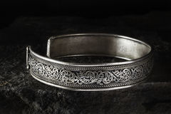 Silver Celtic Bracelet Stock Photos