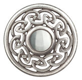 Silver celtic brooch. In isolated on white  Super macro Stock Photography