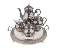 Silver ceramic coffee & tea service on retro tray Royalty Free Stock Image