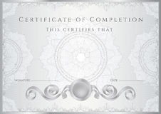Silver Certificate / Diploma background (template) stock illustration